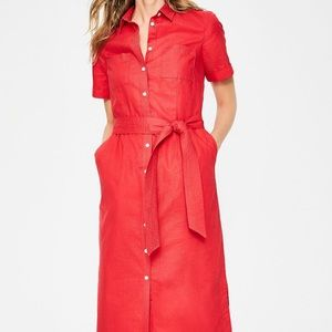 Boden Country Red Belted Button Shirt Midi Dress